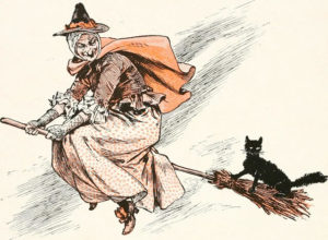 black cat and witch